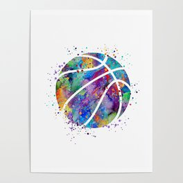 Basketball Watercolor Art Print Sports Poster Home Decor Kids Room Sports Painting Nursery Decor Poster