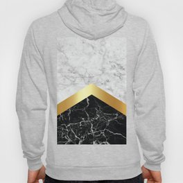 Arrows - White Marble, Gold & Black Granite #147 Hoody