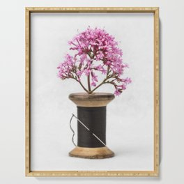 Wooden Vase Serving Tray
