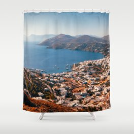 Leros Island Landscape Shower Curtain