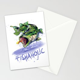 Fishaholic Abstract Bass Fishing Stationery Cards