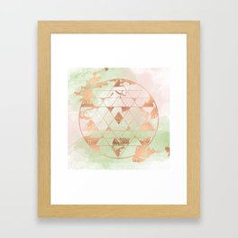 Earthen Souls Sri Yantra - Copper Rose Gold Framed Art Print