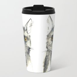 Pencil sketch of the black cat Travel Mug