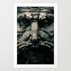 Wooden Man I (B&W) Art Print