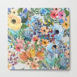 Watercolor Flowers Painting Metal Print