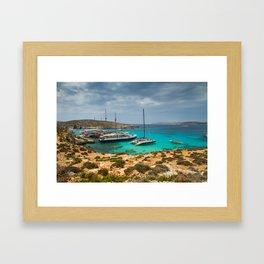 The Blue Lagoon, Comino, Malta Framed Art Print