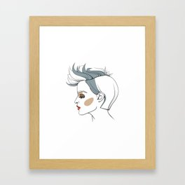 Woman with trendy haircut. Abstract face. Fashion illustration Framed Art Print
