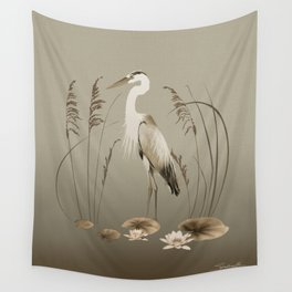 Heron and Lotus Flowers Wall Tapestry