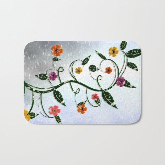Winter Flowers Bath Mat