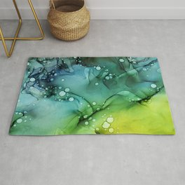 Green Blue Yellow Textures Ink Abstract Painting Rug
