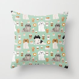 Pekingese dog breed dog pattern pet portraits coffee food dog breeds pet friendly Throw Pillow