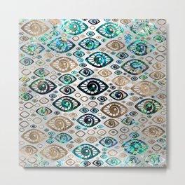 Greek Evil Eye pattern Abalone shell and gold #2 Metal Print