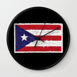 Puerto Rican flag with distressed textures Wall Clock
