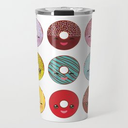 Kawaii colorful donut with pink cheeks and winking eyes, Sweet donuts set with icing and sprinkls Travel Mug