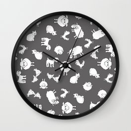 The Little Farm Animals, white on grey Wall Clock