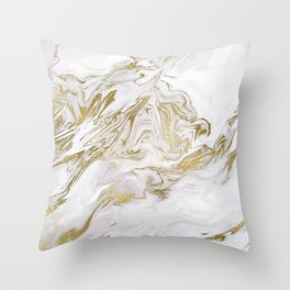 Liquid gold marble II Throw Pillow