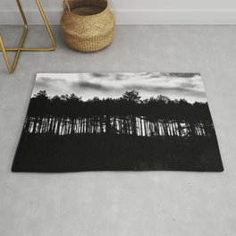 Black and white forest, fine art photography print Rug