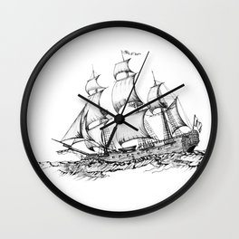 sailing ship . Home decor Graphicdesign Wall Clock