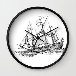 sailing ship . Home decor Graphicdesign Wall Clock