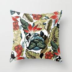 Tropical Frenchie Throw Pillow