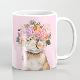 Rabbit with Flowers Crown Coffee Mug