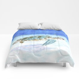 Sea turtle underwater Comforters