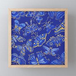 Butterfly Pattern Blue Framed Mini Art Print