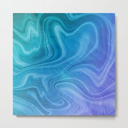 Blue Swirl Marble Metal Print