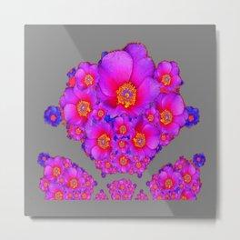 Modern Art Fuchsia Purple-Blue  Rose Flowers Grey Pattern Metal Print