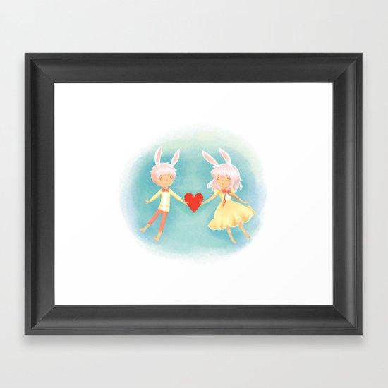 Bunny Hearts Framed Art Print