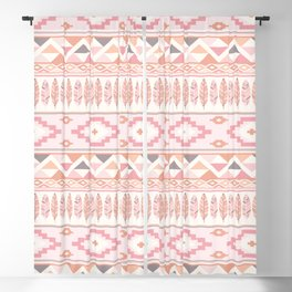 Pink Boho Tribal Aztec Blackout Curtain