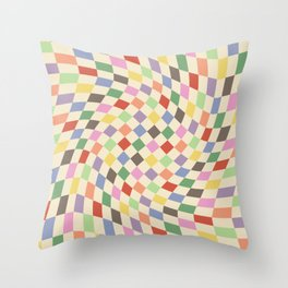 Colorful Checkered Swirl Pattern Throw Pillow