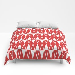 Mid Century Modern Diamond Pattern Red 234 Comforters