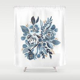 Indigo & gold floral 4 Shower Curtain