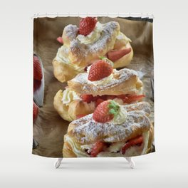 Strawberry Eclair Shower Curtain