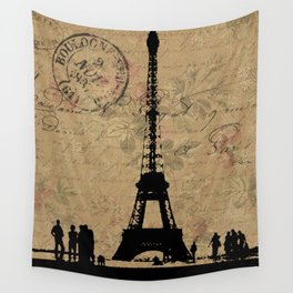 EIFFEL TOWER FRENCH COLLAGE Wall Tapestry