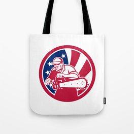 American Lumberjack USA Flag Icon Tote Bag
