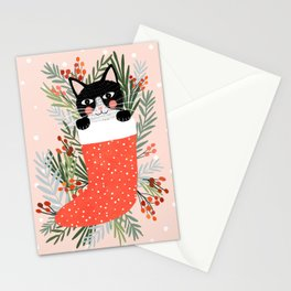Cat on a sock. Holiday. Christmas Stationery Cards
