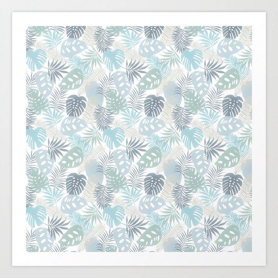Tropical Leaves Pattern Blue Art Print