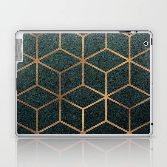 Dark Teal and Gold - Geometric Textured Gradient Cube Design Laptop & iPad Skin