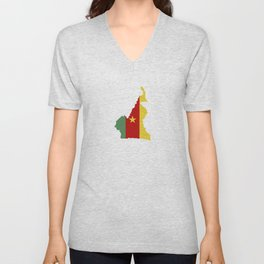 cameroon flag map Unisex V-Neck