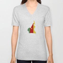 cameroon flag map Unisex V-Neck