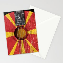 Old Vintage Acoustic Guitar with Macedonian Flag Stationery Cards