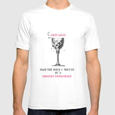Grab the wine White MEDIUM Mens Fitted Tee