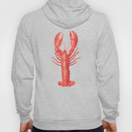 Pink Lobster on Linen Nautical Decor Hoody
