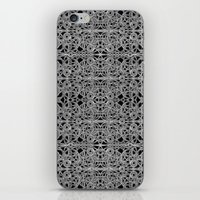 cyberpunk iPhone & iPod Skins featuring Cyberpunk Silver Print Pattern  by DFLC Prints