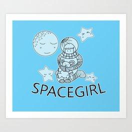 Space Girl Astronaut Holding Teddy Bear Art Print