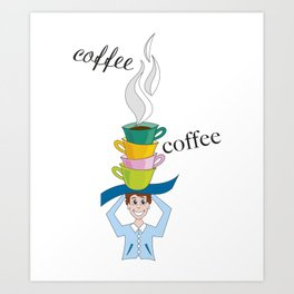 cups of steaming coffee Art Print