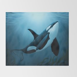 """The Dreamer"" by Amber Marine ~ Orca / Killer Whale Art, (Copyright 2015) Throw Blanket"