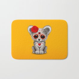 Red and Yellow Day of the Dead Sugar Skull White Lion Cub Bath Mat